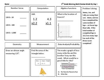 Grade 5 Morning Math Review Quarter 2