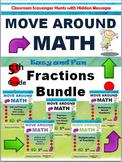 Grade 5 Move Around Math Scavenger Hunt: Fractions Bundle: