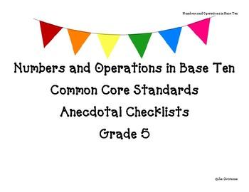 Grade 5 NBT Standards Checklist