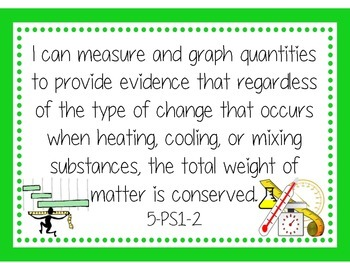 """Grade 5 NGSS Poster with """"I Can"""" sheets"""
