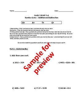 Grade 5 - Number Sense and Numeration (addition & subtraction) Test - EDITABLE