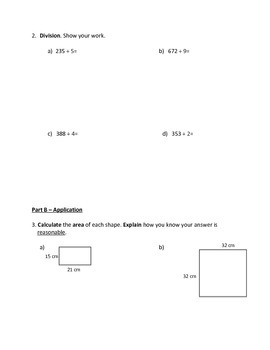 Grade 5 - Number Sense and Numeration (multiplication & division) Test