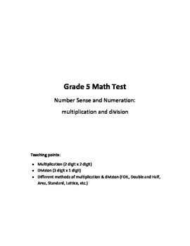Grade 5 - Number Sense and Numeration (multiplication & di