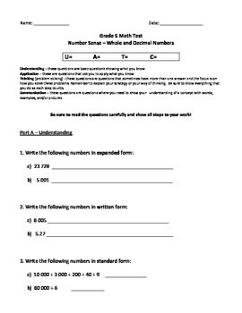 Grade 5 - Number Sense and Numeration (whole & decimal numbers) Test