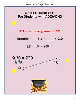 Grade 5 - Numbers & Operations in Base Ten for Students w/ ADD/ADHD - CCS