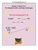Grade 5 CCS, Numbers/Operations in Base 10 for Learning Ch