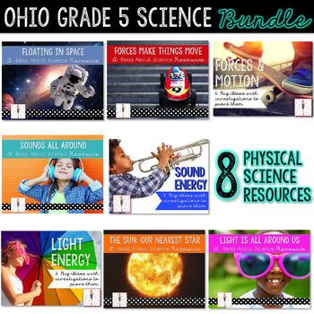Grade 5 Ohio Physical Science BUNDLE: Light Energy, Sound Energy, Force & Motion