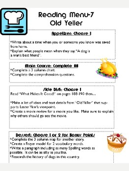 Grade 5: Old Yeller Journeys Resource Choice Menu Board Comprehension Rubric