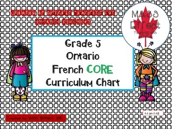 Grade 5 Ontario CORE French Curriculum Chart