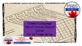 Grade 5 Language  Parent Friendly Report Card Comments for 3 Terms