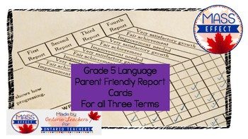 Grade 5  Ontario Language Report Card Comments for 3 Terms