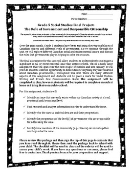 Grade 5 Ontario Social Studies Curriculum: Final Project on Canadian Government