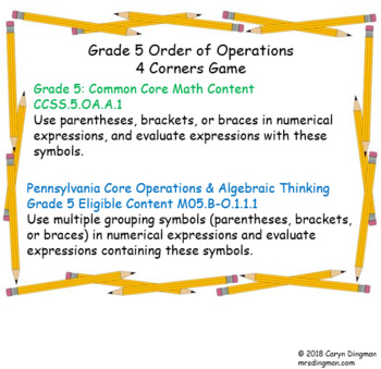 Grade 5 Order of Operations 4 Corners Game