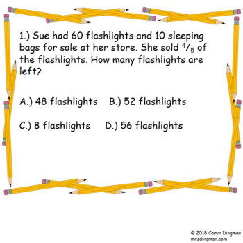 Grade 5 PSSA Sampler Fractions Word Problems 4 Corners Game
