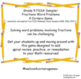 Grade 5 PSSA Sampler Fractions Word Problems 4 Corners Game