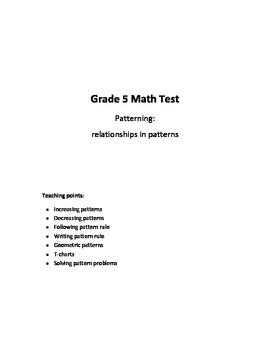 Grade 5 - Patterning (relationships in patterns) Test