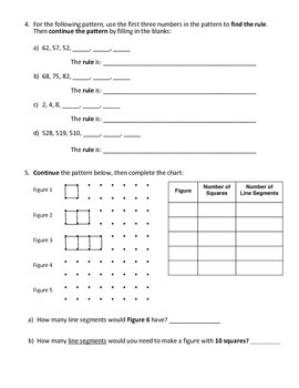 Grade 5 - Patterning (relationships in patterns) Test