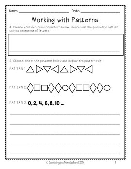 {Grade 5} Patterning Activity Packet
