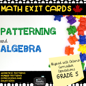 Grade 5 Patterning and Algebra Exit Cards
