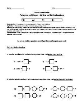Grade 5 Patterning and Algebra Test: Writing and Solving Equations