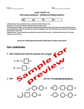 Grade 5 Patterning and Algebra Test: Writing and Solving Equations - EDITABLE