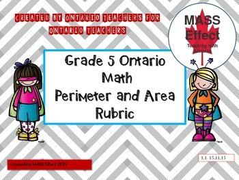 Grade 5 Perimeter and Area Rubric for Ontario Math Curriculum