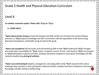 Grade 5 Phys. Ed and Health Report Card Comments, ALL 3 TERMS!