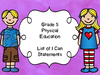 Grade 5 Physical Education I Can Statements List