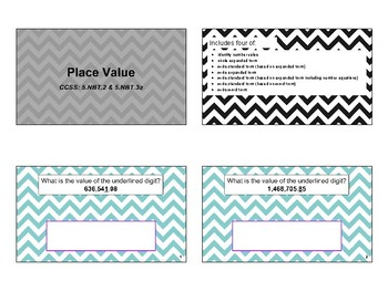Grade 5 Place Value Task Cards