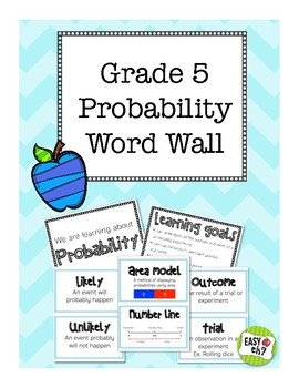 Grade 5 Probability Word Wall (aligned with Ontario curriculum)