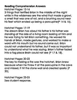 Grade 5 Ready Gen Hatchet vocab, vocab quiz, & reading comp questions/answers