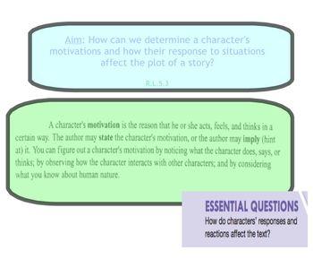 Grade 5 ReadyGen-Character Motivation SmartBoard Lesson