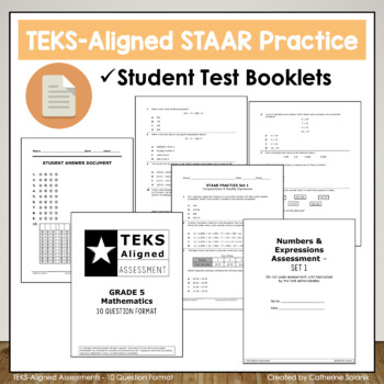 5th Grade TEKS Math STAAR BUNDLE ~ Test-Prep and Practice ~ Assessments