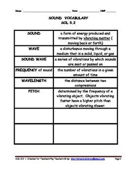 Grade 5 Science 5.2 Sound. Vocabulary. Test. Activities. 5 Pages