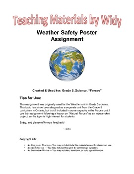 Grade 5 Science: Forces of Nature Weather Safety Assignment & Rubric