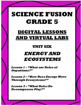 Grade 5 Science Fusion Unit 6 Digital Lessons and VIrtual Lab Templates