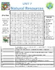 Grade 5 Science Fusion Unit 7 - Natural Resources - Vocab Word Search Review