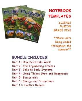Grade 5 Science Fusion Units 1-6 and Unit 11 Notebook Template Bundle