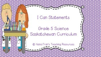 Grade 5 Science I Can Statement Posters - Saskatchewan