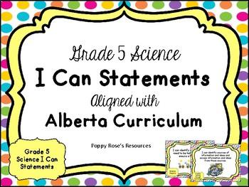 Alberta Grade 5 Science I Can Statements