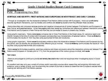 Grade 5 Social Studies Report Card Comments, ALL 3 TERMS!