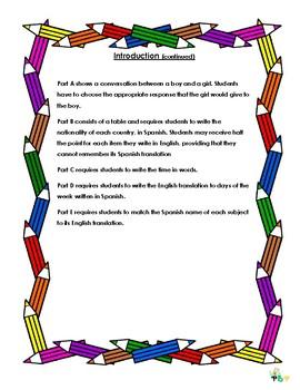 Grade 5 Spanish Exam/ Revision