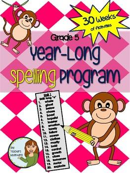 Grade 5 Spelling Program - 30 weeks of word lists and activities