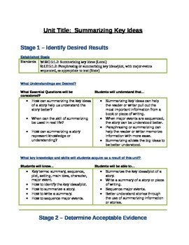 Grade Summarizing Key Ideas Unit Plan UBD TpT - Ubd lesson plan template