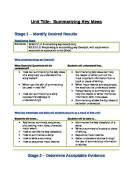 Grade 5: Summarizing Key Ideas Unit Plan UBD