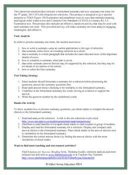 Summary Hands-On Activities Grade 5