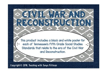 Grade 5 TN SS Standards Posters - Civil War and Reconstruction