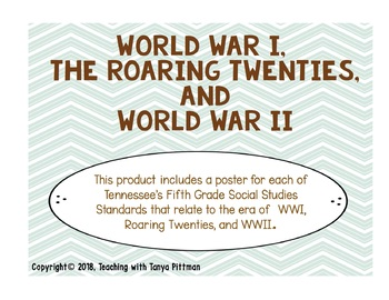Grade 5 TN SS Standards Posters - WWI , Roaring Twenties, and WWII