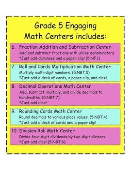 Grade 5 Ten Engaging Math Centers