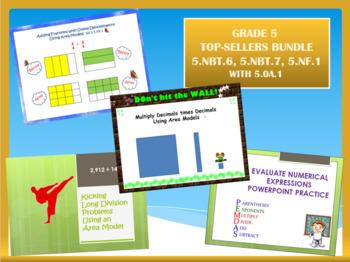 Grade 5 Top-Sellers Bundle - 5.NBT.6, 5.NBT.7, 5.NF.1